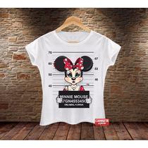 Babylook Feminina Minnie Suspeita Cartoon Divertida Mickey
