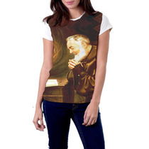 Camiseta Baby Look Padre Pio Religiosa Católica
