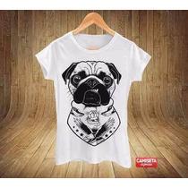 Camiseta Baby Look Estampa Bulldog Motoqueiro Punk Rockeiro