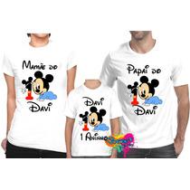 Kit 3 Pçs Camisa P/ Festa Personalizada Turma Mickey Baby A4