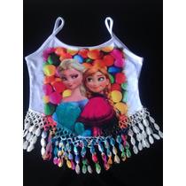 Camiseta Frozen Com Aplique De Franja Anna Elsa P/ Entrega