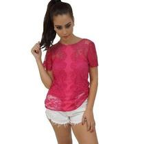 Blusa Em Renda Rosa Pink Unique Chic