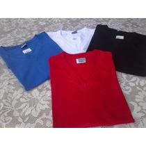 Camiseta Gola V Masculina Malha Fria 100%poliester Promoção