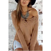 Blusa Tricot (tricô) Gola V Cordão Frete Grátis