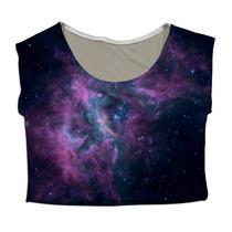Top Cropped Mini Blusa Personalizado Nebula Galáxia Galaxy