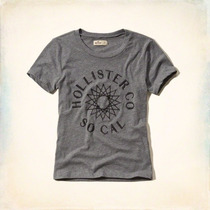 Camiseta Feminina Hollister Co Surf Original Nova Cinza