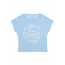 Camisa De Malha Azul Bebe Com Estampa Em Branco