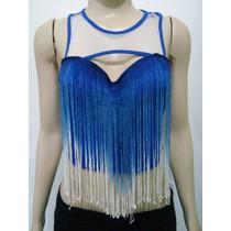 Blusa Top Cropped Com Franjas Bicolor E Tule Sexy Panicat