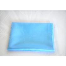 Lenço Quadrado Azul Claro Em Cetim Charmousse 90x90 Cm