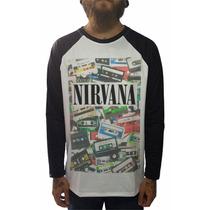 Raglan Nirvana Camisetas Blusas Moletom Regata Bandas Rock