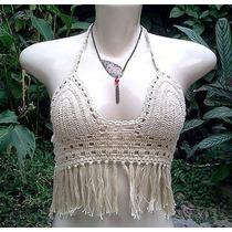 Top Cropped Crochet Boho Chic De Algodao Com Franjas