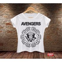 Blusa Feminina Avengers Ramones Vingadores Marvel Divertida
