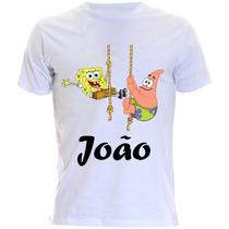 Camiseta Infantil Do Bob Esponja E Patrik Com Nome