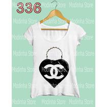 Camiseta T-shirt Feminina Bolsa Coração Chanel Moda Look