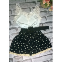Conjunto Feminino Shorts Estilo Boneca Coroa+blusinha +cinto