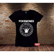 Camiseta Sátira Pikachu Feminina Pokemones Ramones Pokemon