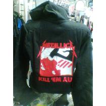 Moletom Flanelado Metallica Kill Em.. Com Capuz Babylook G