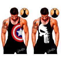 Camiseta Regata Cavada Heróis Musculação Academia Tank Top