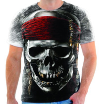 Camiseta Camisa Personalizada Caveira Piratas Do Caribe 01