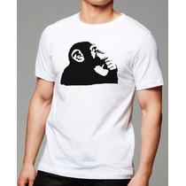 002- Camisetas Engraçadas Macaco Pensando