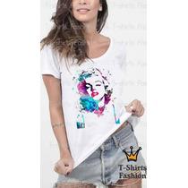 Baby Look T- Shirt Marilyn Monroe Abstrato Personalizada