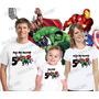Camiseta Herois Marvel Hulk Capitão América Thor Kit Com 3