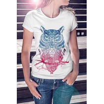 Camisa Estampa Feminina Coruja Degradê Top Da Moda