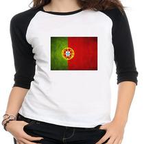 Camiseta Raglan Bandeira Portugal - Feminina