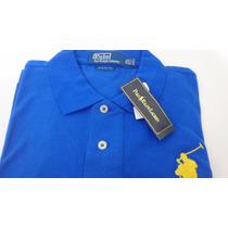 Camisa Polo By Ralph Lauren Azul Cavalo Grande Amarelo Xxl