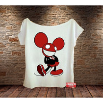 Blusa Feminina Gola Canoa Deadmau Mickey Mouse Sátira Música
