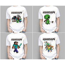 Camiseta Infantil Crianças Minecraft Steve Creeper Enderman