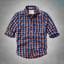 Camiseta Camisa Xadrez Masculina Abercrombie M Vinho Azul
