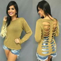 Blusa Em Tricot Crochê Renda Detalhe Destroyed Rasgado Lindo