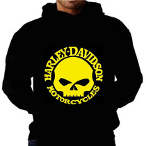 Blusa Moletom Harley Davidson Capuz E Bolso Caveira Moto Hd