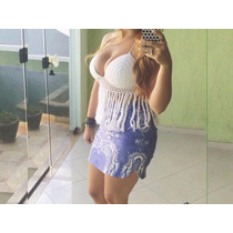 Top Cropped Croche Com Franjas
