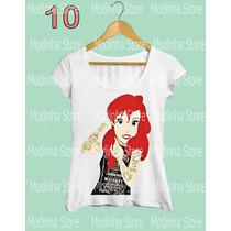 Camiseta Tshirt Feminina Princesa Tatuada Disney Ariel Coroa