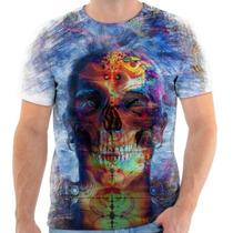 Camiseta Camisa Personalizada Caveira Psicodélico Skull 145
