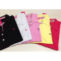 Blusa Polo Kit C/ 5 Feminina Baby Look Top De Vendas