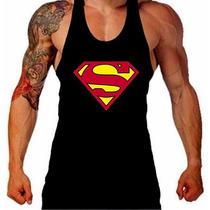 Camiseta Regata Cavada Superman Musculação Academia Tank Top