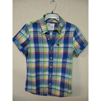 Camiseta Camisa Xadrez Masculina Abercrombie P Azul Social