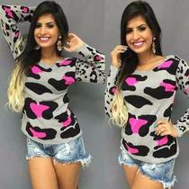 Blusa Tricot Feminina Oncinha Modelo Acessorio Moda