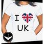 Camiseta I Love Uk Londres Inglaterra Reino Unido Baby Look