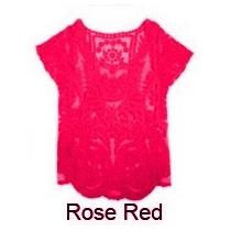 Blusa Renda Guipir Manga Curta - Vermelha E Verde -tamanho G