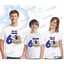 Camiseta Club Do Pinguim Aniversário Personalizada Kit Com 3