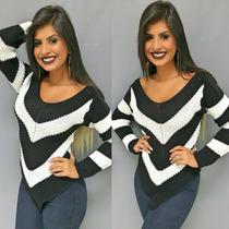 Blusa Listrada Tricot Croche Feminina Em V Blogueiras