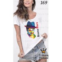 Camiseta T-shirt Bruno Mars Fashion Feminino Blusa Baby Look