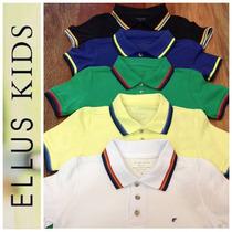 Camiseta Polo Ellus Kids Manga Curta Friso - Azul