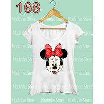 Blusa Tshirt Feminina Minnie Mickey Mouse Disney Flamê Laço