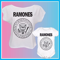 Kit Tal Mãe Tal Filho Blusa E Body Infantil Ramones, Rock