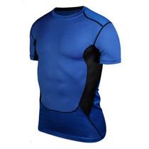 Camiseta Corrida Futebol Compressão Masculina Térmica Azul
